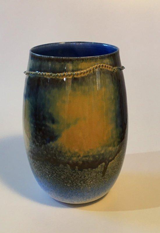Vase - Spitzen - blau - 17 x 9 cm