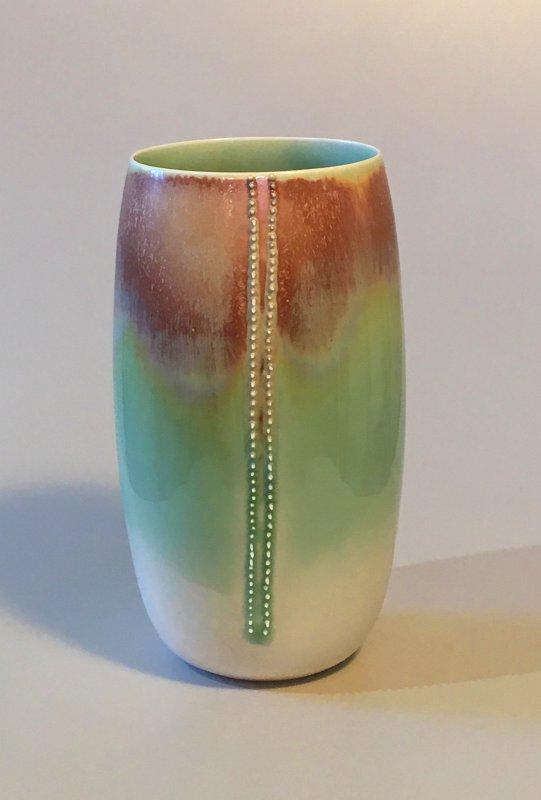 Vase - Spitzen - grün - 18 x 8,5 cm