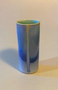 Vase - Spitzen - hellblau - 17 x 7,5 cm