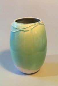 Vase - Spitzen - hellgrün - 16 x 7,5 cm