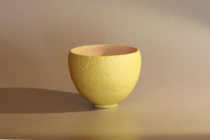 Schälchen - gelb, mit Relief - 10 x 11 cm