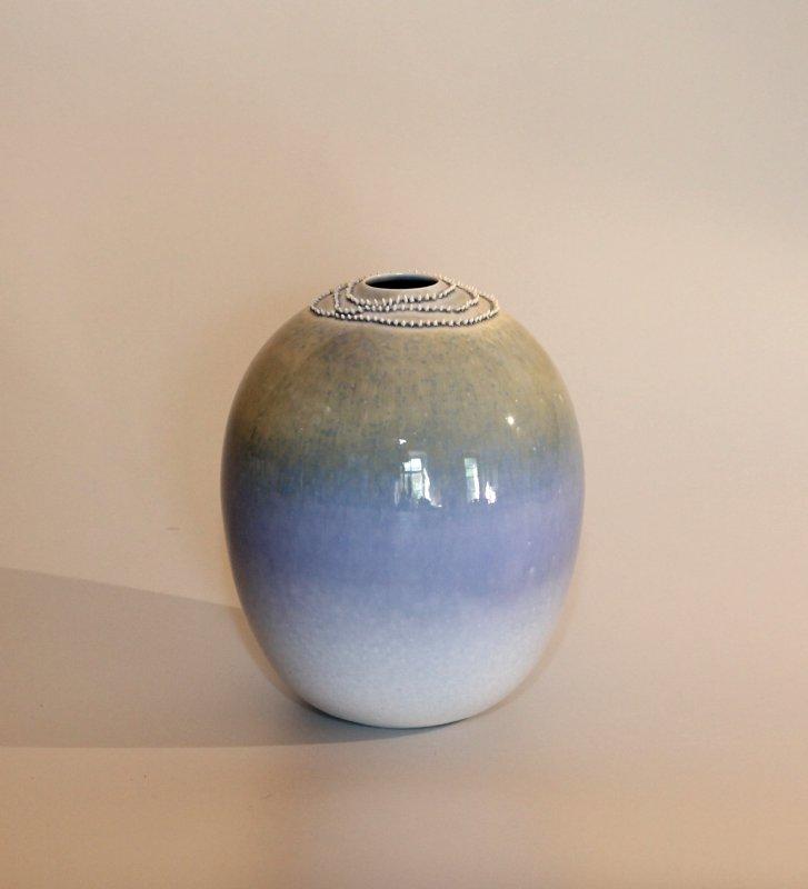 Spitzenvase - blaugrau - 18 cm